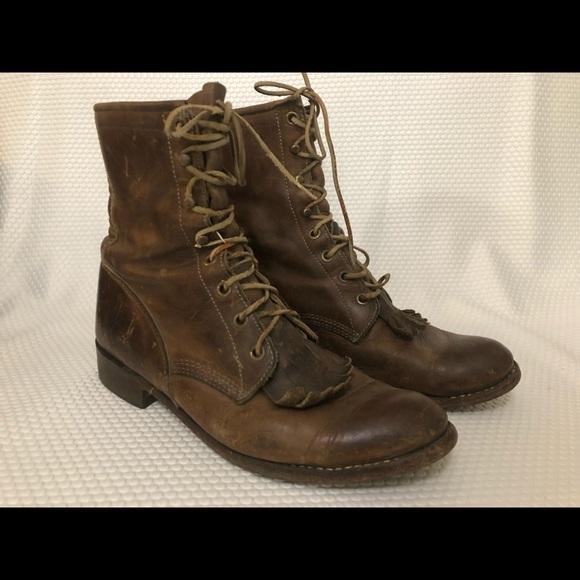 501101a932c5d JUSTIN Vintage Boots Lace Up Daniel Forbes Sole